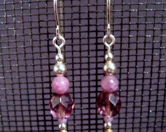Sterling Silver Lepidolite and Czech Glass Dangle Earrings