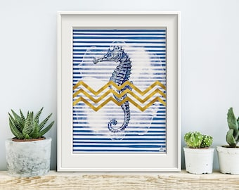 Deep blue mood No2, poster, print, print, artwork, premium print, wall art, seahorse, maritim, geometric