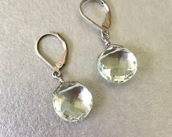 Prasiolite Earrings--Prasiolite Jewelry--Green Amethyst Earrings--Gemstone Earrings