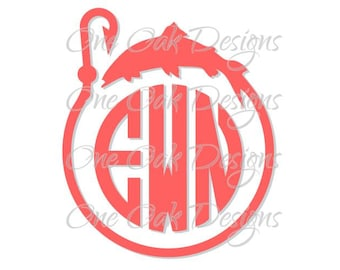 Fish Hook Circle Monogram SVG File, PDF, DXF, ai, eps, jpg, png, svg file for Cameo  svg file for Cricut & other electronic cutters
