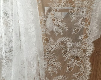 3 yards Eyelash Lace Fabric in Ivory  for Bridal Gowns, Mantilla Veils, Garments, Curtains