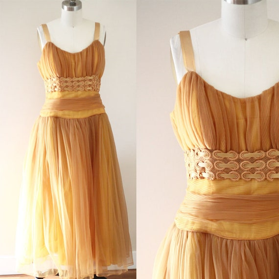 1960s gold chiffon dress // gold party dress // vintage dress