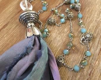 SALE Boho Chic, Blue Sari Silk Tassel  Beaded Necklace SALE