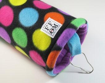 Small guinea pig fleece tunnel tube | sugar glider | rat hammock |  hedgehog | bright dots | fleece cage accessories | READY TO SHIP