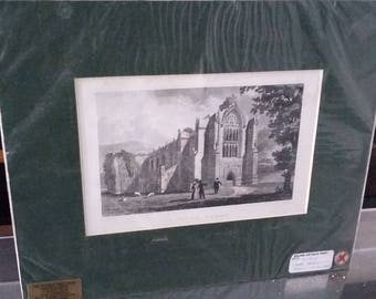 Vintage Print Bolton Abbey Hand Coloured Steel Engraving 1832