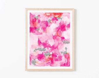 Pink Watercolor Abstract Nursery Art. Nursery Wall Art. Nursery Prints. Nursery Decor. Girl Wall Art. Pink Watercolor Art. Instant Download.