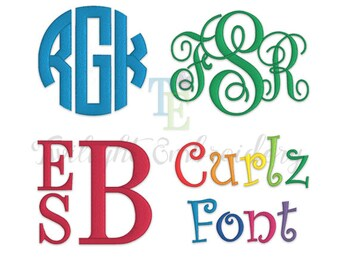 Embroidery Fonts Pack, Embroidery Monogram Fonts, Embroidery Circle Monogram, Embroidery Vine Monogram, Embroidery Stacked Monogram, 0011