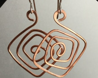 Copper Square Spiral Earrings