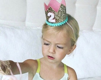 Second Birthday Crown Of Glitter For Girl | Gold Birthday Crown | 2nd Birthday Crown | Second Birthday Crown | Birthday Hat Gold + Pink
