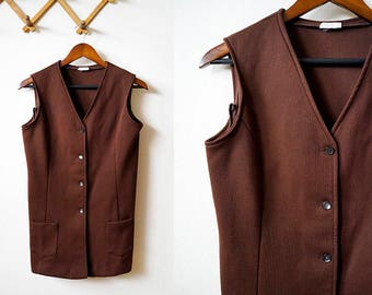60s mod brown button up vest with front pockets, size small / medium