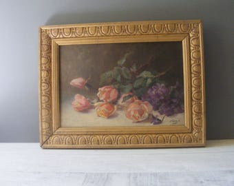 Antique French Still Life Oil on Canvas Painting.Signed F.Lasape.
