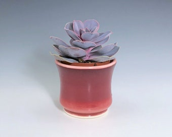 """Small Ceramic Planter, Red Succulent Planter, Porcelain Plant Holder, Ombre Indoor Planter, Pottery Planter With 2"""" Removable Plastic Pot"""