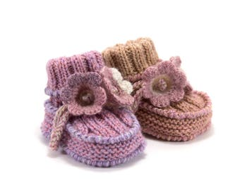 Baby Booties  with Crochet Bell Flowers - Pink, Mauve, Lavender and Lilac, 0 - 3 months