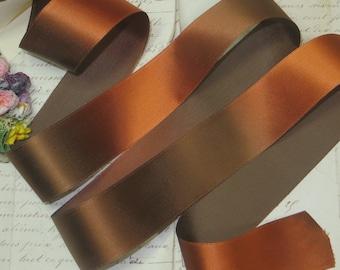 "10y Spool 1.5"" BROWN AGED SATIN Rayon Ombre Ribbon Golden Copper Patina Matte Taffeta Back Trim Antique Vintage Ribbonwork French Flower"