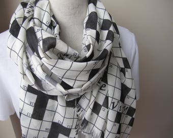 crossword Scarf down Crossword Puzzles print fabric Long Geek Gift Idea For Her -crossword lovers gifts for him women'sscarves-men's scarves
