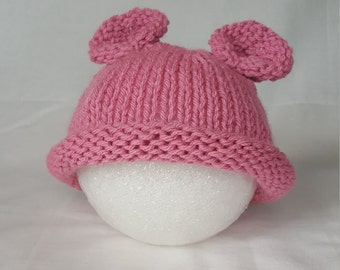 Infant Teddy Bear Hat - Knit Rose Pink with Bear Ears and Rolled Brim - 6 - 12 Months
