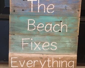 Reclaimed wood beach sign