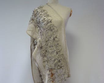 Artsy taupe handmade scarf. Perfect for gift, made of pure linen.
