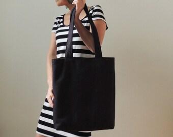 Midnight Black Wool Felt Tote Bag - Tote Bag - New York Tote Bag - Black Tote Bag