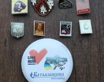 Badges, metal badges, 9 badges on pins, USSR, different badges, set# 33