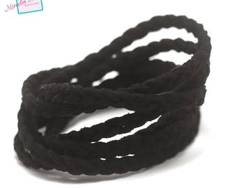 "1 meter ""braided"" Suede, 5 x 2, 5 mm, black"