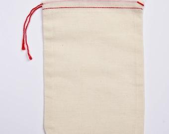 100 5 x 7 mousseline de coton rouge ourlet et sacs rouge