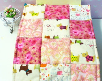 Cats & Dogs, 1-6th scale patchwork quilt + 3 cushions. All Japanese fabrics. Gold embossed fabrics - truly stunning!