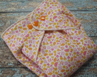 Organic Cotton Winged Prefold Cloth Diaper Fruit Salad Sized