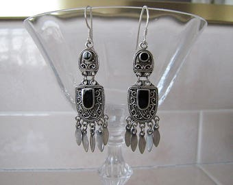 Onyx Sterling Silver Fringe Earrings