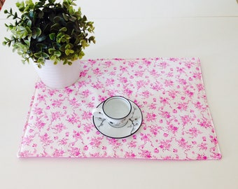 Set of 2 American placemats print flowers and polka dots