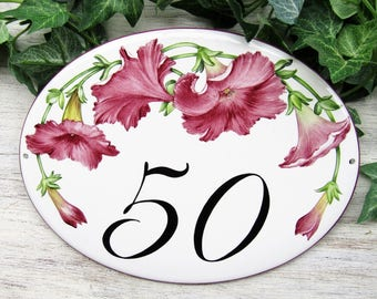Red Burgundy Petunia House Number, Custom House Number, Street Number Plaque, Street Number Sign, Home Number, Outdoor House Number Signs