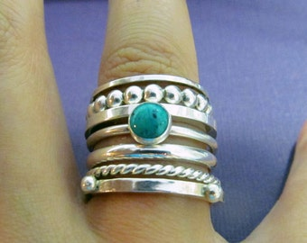 Sterling Silver Stacking Rings Set of 7 -- Bubble, Square, Square Studded, Twist Rope Sacking rings.mothers day gift