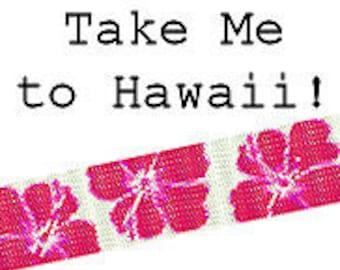 Peyote Bracelet Pattern Hawaiian Tropical Hibiscus Flower Cuff Bracelet Delica Seed Bead Digital PDF Pattern