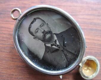 Antique Edwardian Locket With Drop - Citrine Glass - Gold Gilt - Photo of Man Under Glass - Pendant - C1910