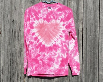 Women's Plus Size Heart Tie Dye, XXL 3XL 4XL 5XL, Long Sleeve, Pink Tie Dye, Valentine's Day Shirt