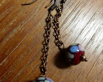 Colorful Glass Chain Earrings, Lampwork