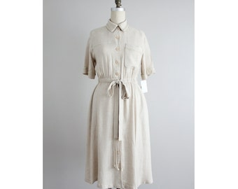 woven linen dress / collared dress / button down dress