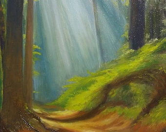 """Painting oil on canvas of a path in the forest bathed in light """"Ballad forest"""