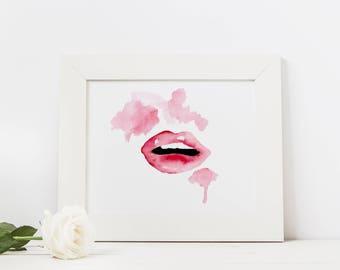 Lips Watercolor Art Print 8x10 or 5x7