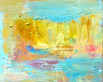 Mini Original Oil Landscape Painting: Golden World