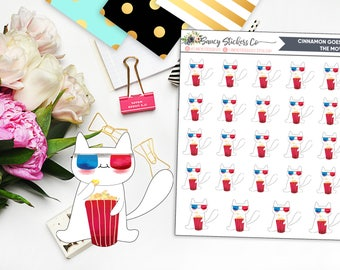 Cinnamon Goes to the Movies for use with Erin Condren Lifeplanner™, Filofax, Personal, A5, Happy Planner