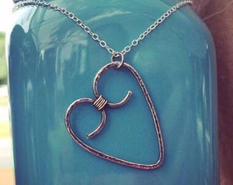 Silver Heart Necklace-Wire Heart Shaped Charm Necklace-Textured Silver Heart