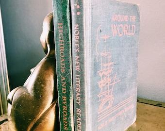 Vintage Pair of Decorative Children's Books / Pastel Green, Blue + Pink Book Set