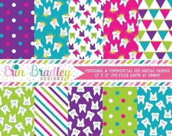 80% OFF SALE Tooth Digital Paper Pack Teeth Patterned Paper Set in Pink Green Blue & Purple with Stripes and Polka Dots Commercial Use