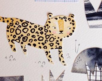 Big Cat Leopard Collage Art OOAK