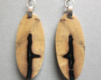 Small, Exotic Wood Earrings, Green Wood, repurposed ecofriendly Handcrafted ExoticWoodJewelryAnd