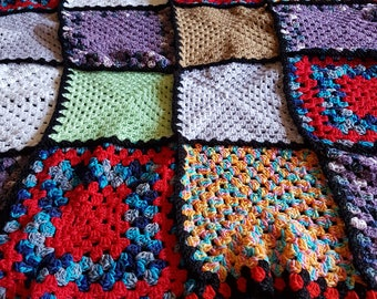 Granny square, colourful crochet lap rug measuring 90cm x 90cm