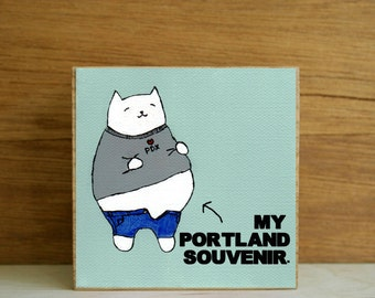 "ART BLOCK: ""Portland Foodie"" featuring a Cat with a Big Belly from Overeating"