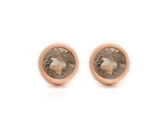 Smoky Quartz Stud Earrings - Gemstone POP Stud Earrings - Rose Gold Studs - Smoky Quartz in Rose Gold - 18k Gold Vermeil - Studs
