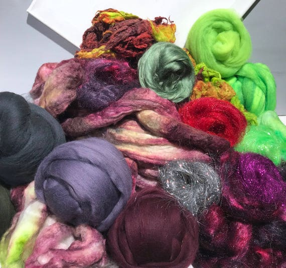 Fiber Art Kit, Needle Nuno Wet Felting, Spinning, Saori weaving, knit crochet Surprise kit, add in texture fibers locks blending board fiber
